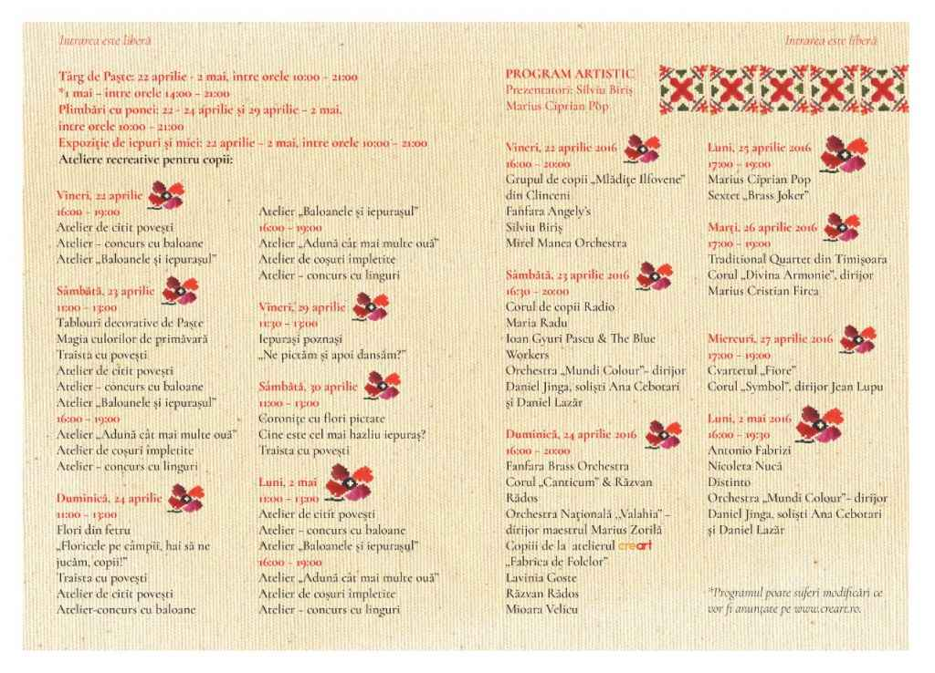 Program Traditii si Flori de Sarbatori 2016 - creart