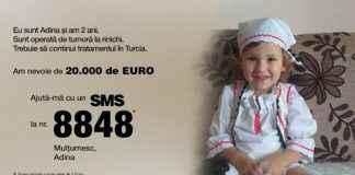 Adina, fetița de 2 ani diagnosticată cu cancer
