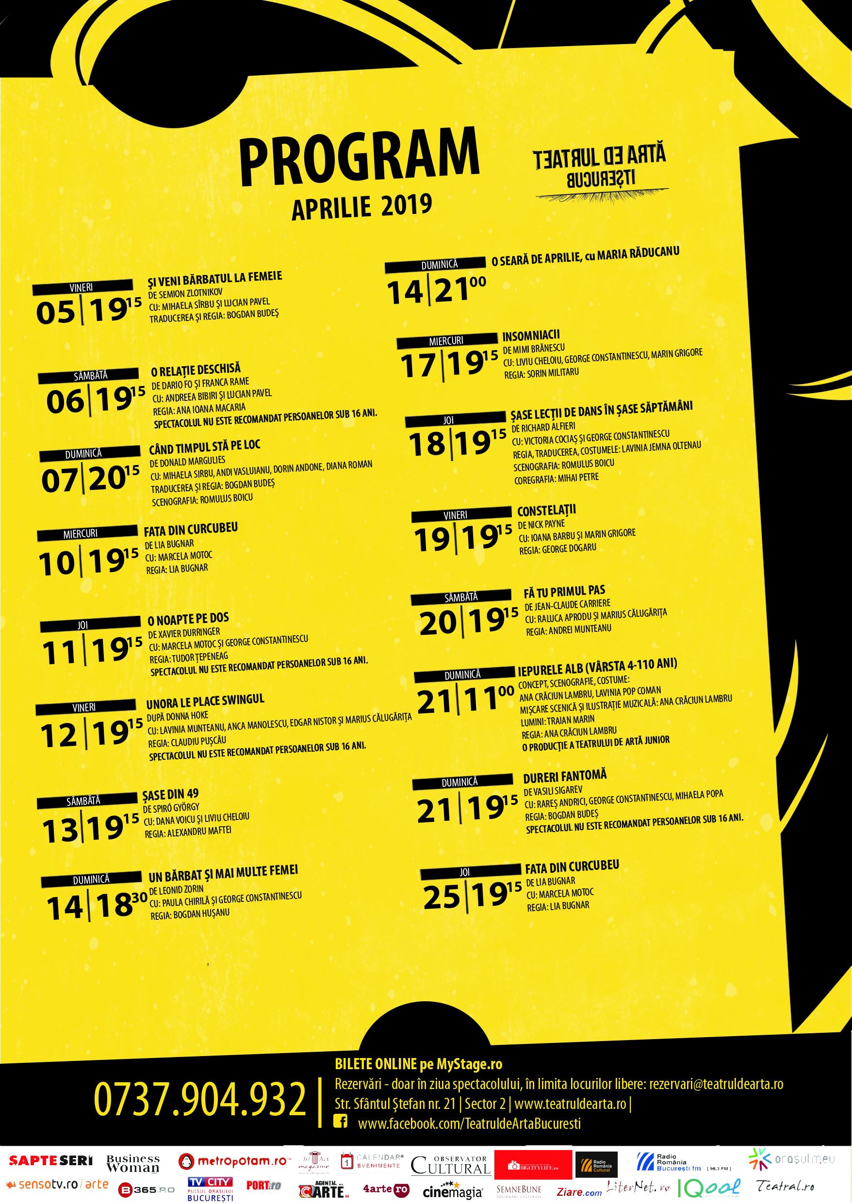 program aprilie afis